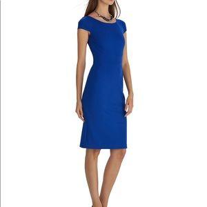 WHBM Cobalt Blue Ponte Cap Sleeve Sheath Dress